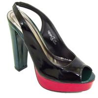 View Item LADIES BLACK PATENT SLING-BACK SANDALS SHOES SIZE 3-8